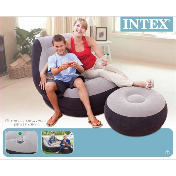 intex sofa chair orange leather modern inflatable relaxing single air couch foot rest ottoman trade me