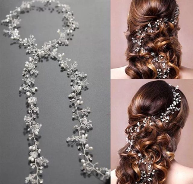 gorgeous wedding / party long hair clips gold or silver