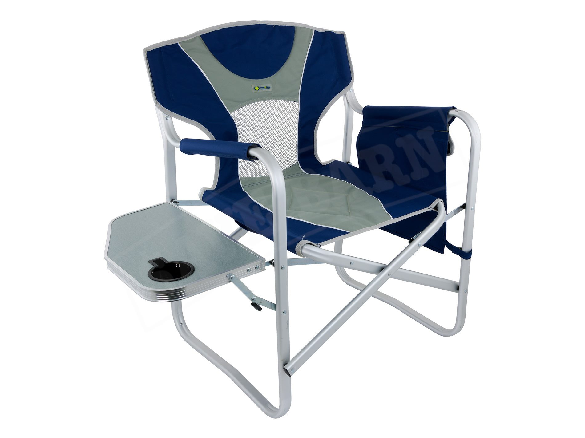 Folding Director Chair Director Chair Folding Camp Chair With Arm Rest Cooler Compartment Blue Grey