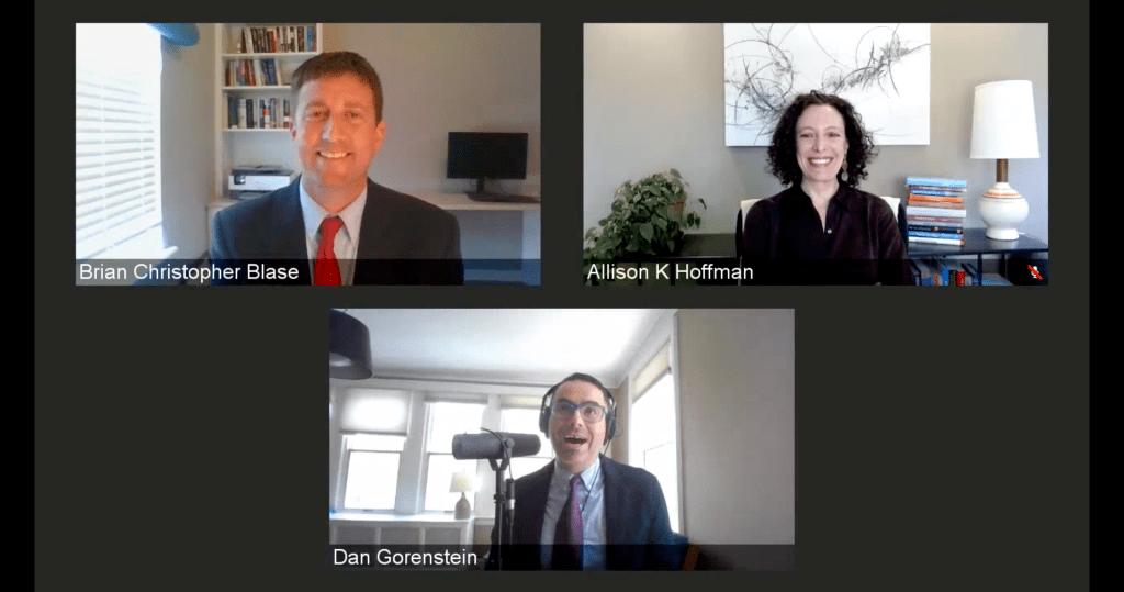 Brian Blase and Allison Hoffman speaking with Dan Gorenstein