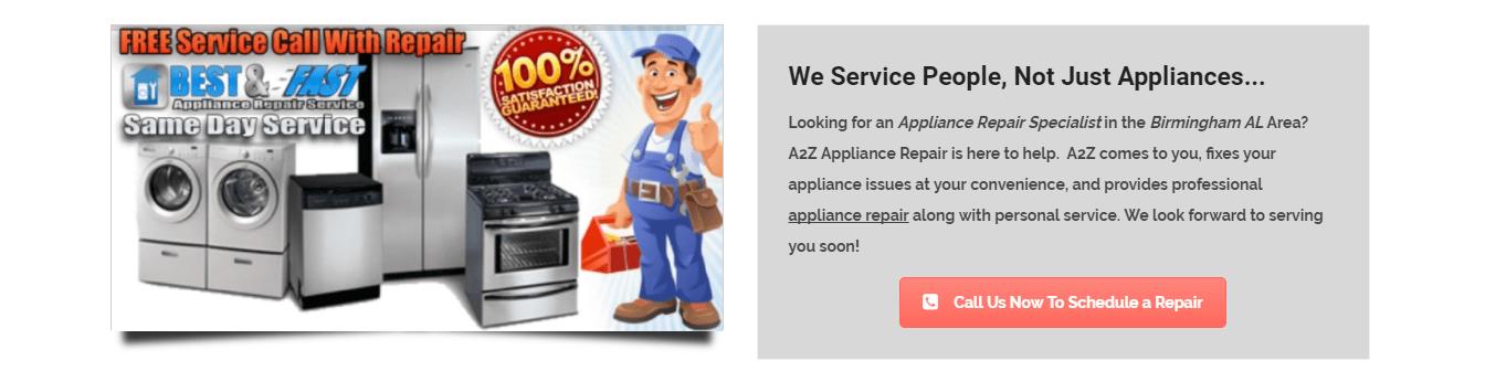 A2Z Appliance Repair Services in Birmingham Alabama
