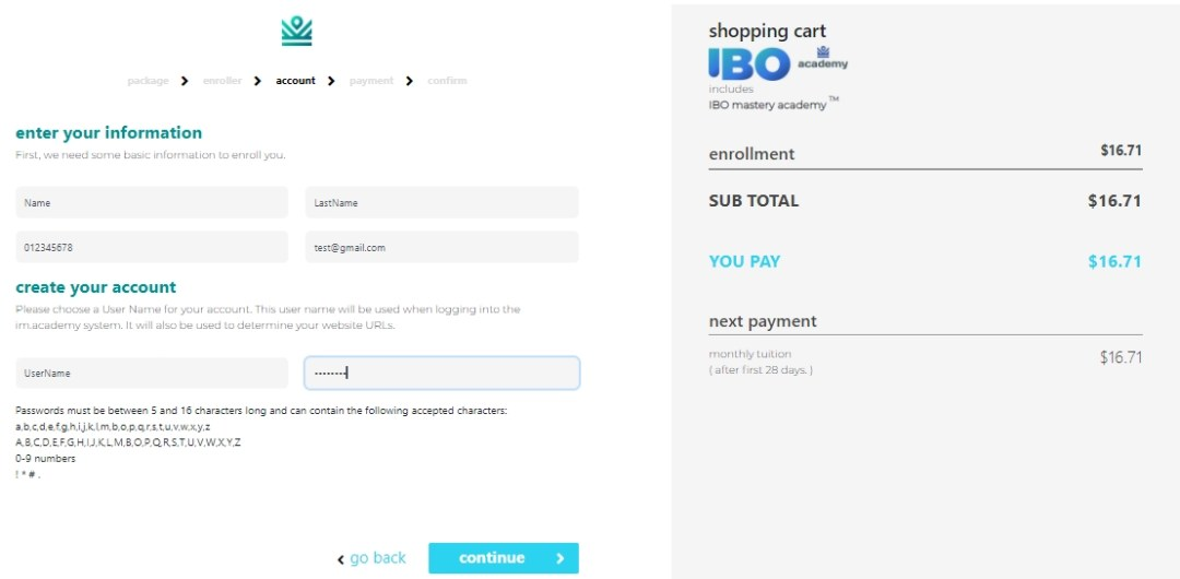 IML IBO Sign Up - account details