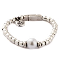 Genuine cultured pearl with sterling silver plated beads with magnetic clasp.