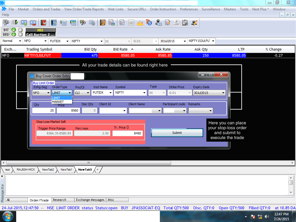 cover order stop loss trigger price for stop loss place a cover order limit order market order