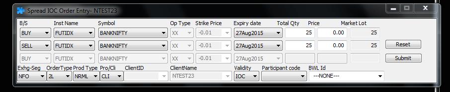 SPREAD order NEST trading 2 legged order