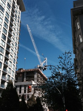 Downtown Vancouver is full of big cranes. Lots of new construction.