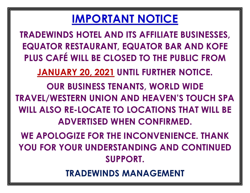 Hotel Closed From January 20