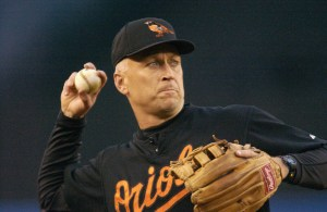 NEW YORK - SEPTEMBER 28: Cal Ripken Jr. #8 of the Baltimore Orioles warms up before the game against the New York Yankees on September 28, 2001 at Yankee Stadium in Bronx, New York. The Yankees won 7-0. (Photo by M. David Leeds/Getty Images)