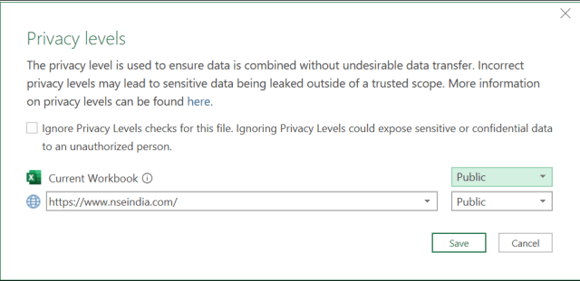 Open Interest Analysis Excel- Privacy Settings 2
