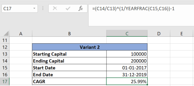 Calculate CAGR is Excel Sheet 2