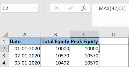Calculate Drawdown in an Excel Sheet 3