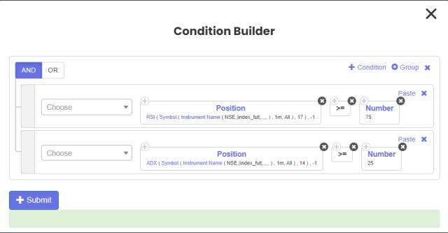Tradetron Condition Builder 7