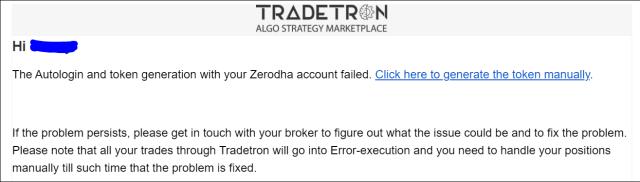 Tradetron Token Generation Error