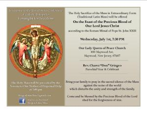 Feast of the Precious Blood of Our Lord Jesus Christ -QP070115