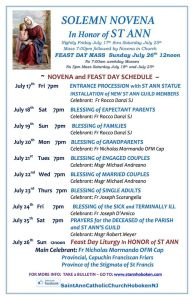 Saint Anne Feast Novena Schedule Hoboken NJ 2015