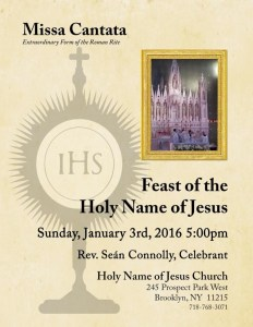The Feast Of The Holy Name Of Jesus - Brooklyn - Jan 3rd 2015