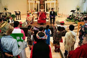 Jesuitism Blasphemy At Loyola Chapel _ Dalai Lama Given A Grand Chair On The Altar In Front Of The N.O._ Table Altar