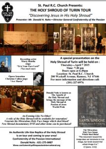 La Santa Sindone- Holy Shroud Presetnation By Donald Nobs -Wycoff NJ