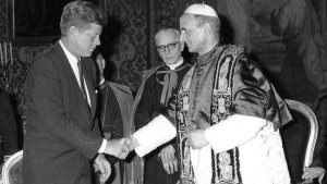 President John F. Kennedy shakes hands with Pope Paul VI at the Vatican July 2, 1963. The White House called Kennedy's meeting with Paul VI an