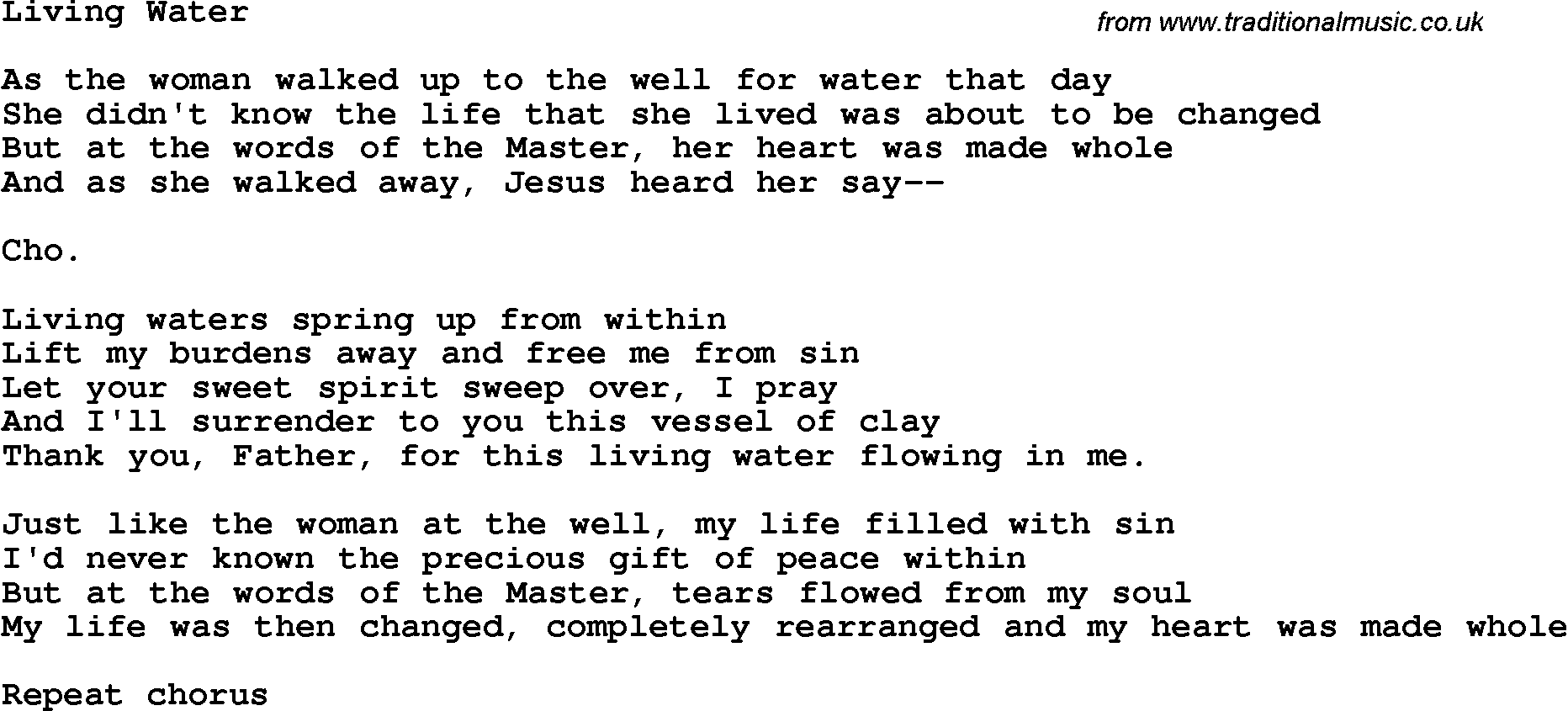 Country, Southern And Bluegrass Gospel Song Living Water