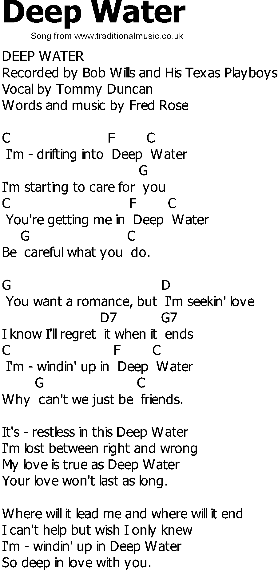 Old Country Song Lyrics With Chords  Deep Water