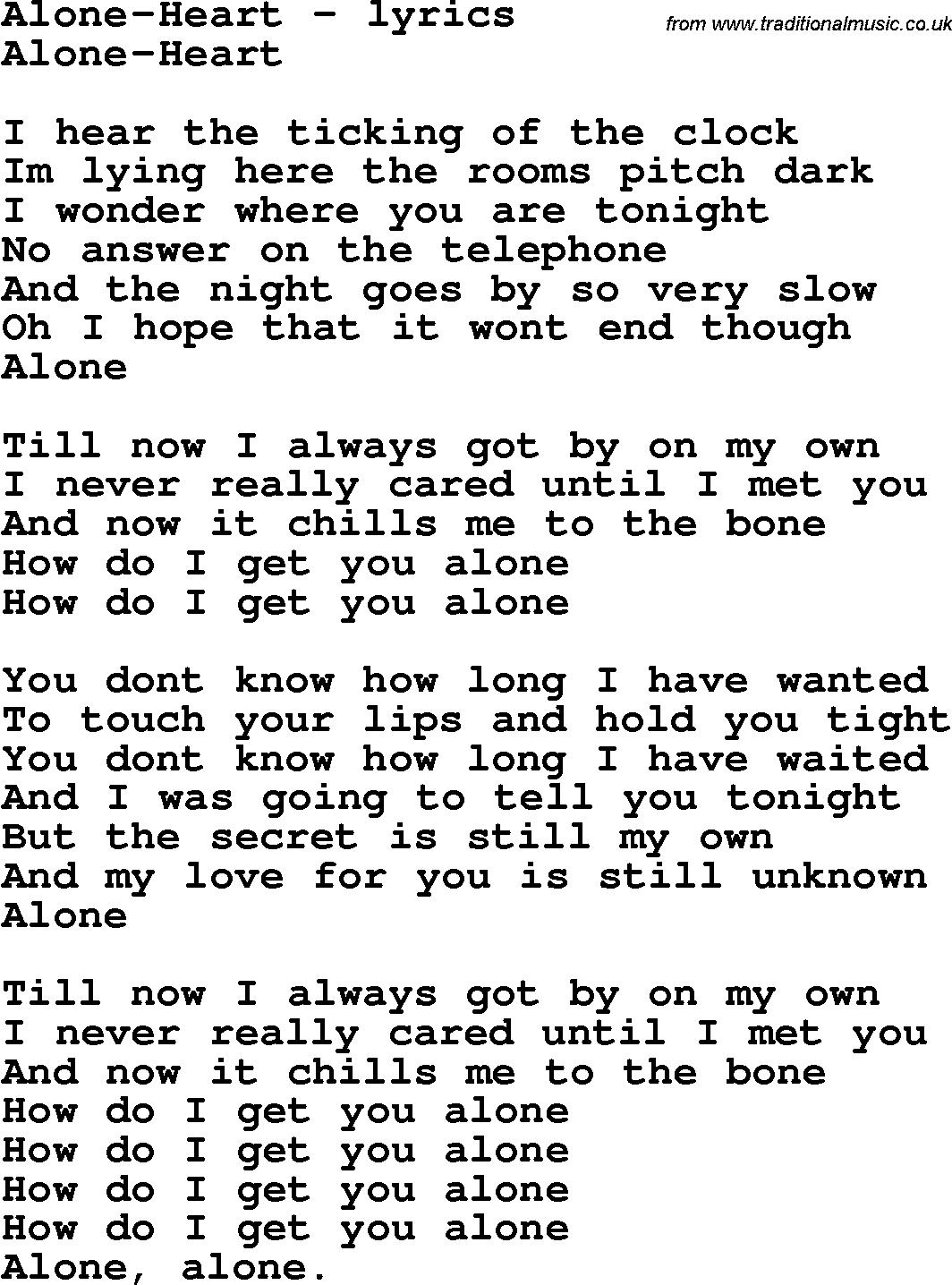 Lirik Alone Heart : lirik, alone, heart, Lyrics, For:Alone-Heart
