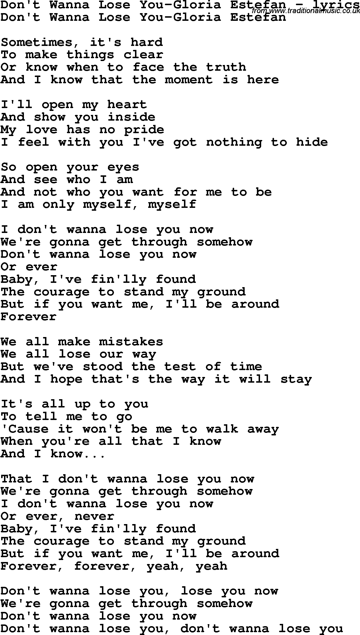 Baby If You Want Me Song : Lyrics, For:Don't, Wanna, You-Gloria, Estefan