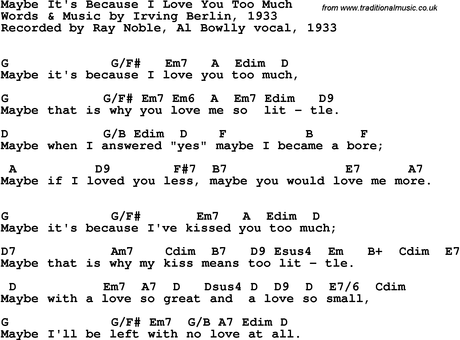 Song Lyrics With Guitar Chords For Maybe It's Because I