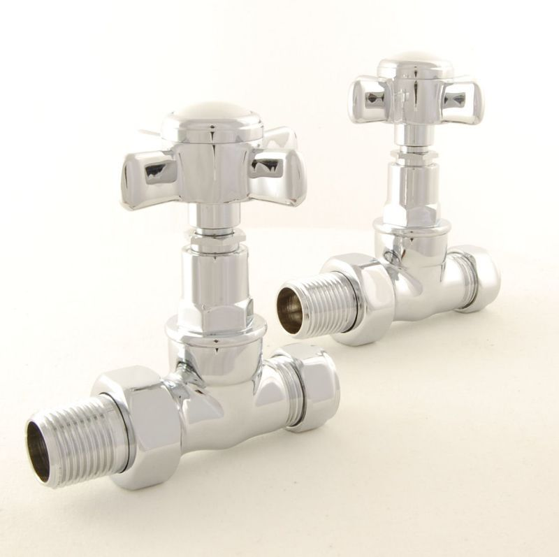 Westminster Cross Head Rad Valves Straight Chrome Pair