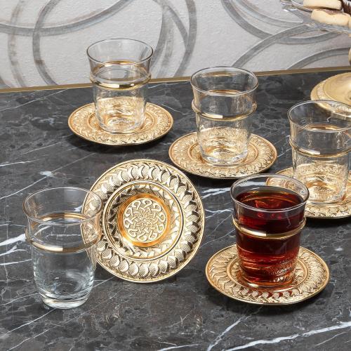 Gold Color Authentic Burma Tea Set For Four Person