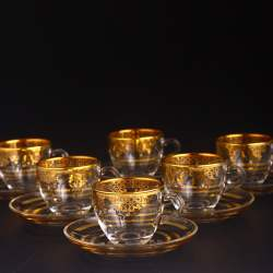 Gold Color Coffee Mugs - Tea Glasses For Six Person