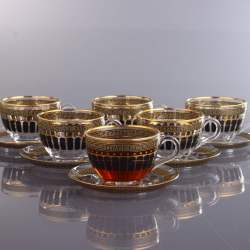 Gold Color Coffee Mugs - Tea Glasses Set For Six Person