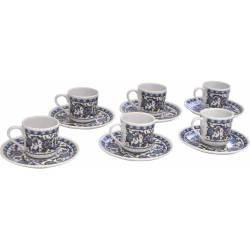 Turkish Coffee Cup Set Kütahya Porcelain for Six