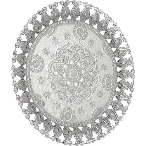 Flower Pattern Authentic Silver Serving Tray
