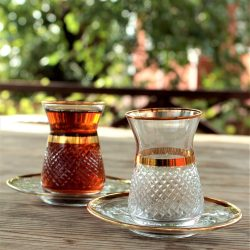 12 Pcs Vizyon Gold Color Cutting Turkish Tea Set