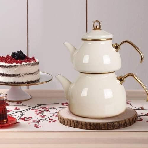 White Color Glory Enamel Turkish Tea Pot Kettle