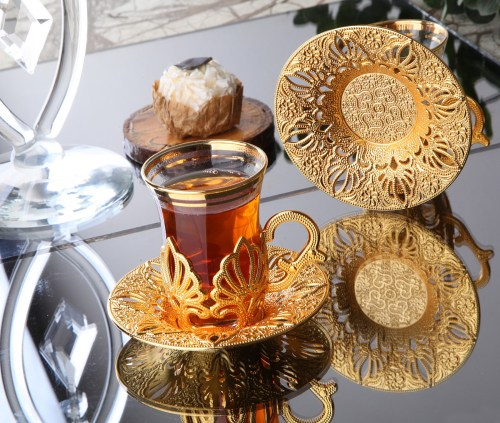 Gold Color Ahu Turkish Tea Cups Set For Six Person