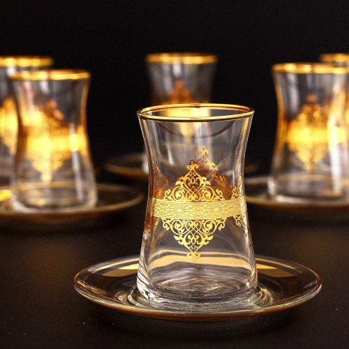 Gold Plated Nida Arabic Tea Glasses Set