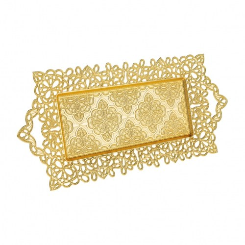 Gold Color Serving Tray For 2 Glasses
