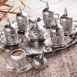 Silver Color Tulip Design Coffee Set For Six Person