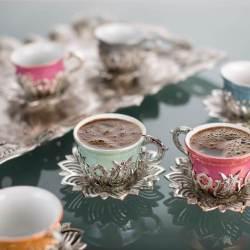 Colorful Tulip Design Silver Color Coffee Set