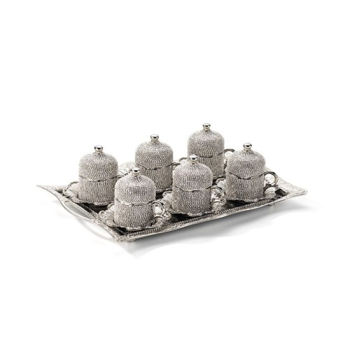 Crystal Stone Coated Silver Color Coffee Cups Set