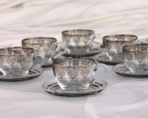 Large Silver Color Coffee Mugs-Tea Glasses For Six Person