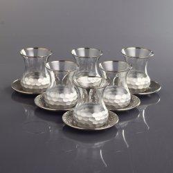 Silver Color Honeycomb Patterned Turkish Tea Glass Set