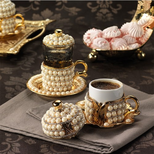 Pearl Coated Unique Coffee Cups Set