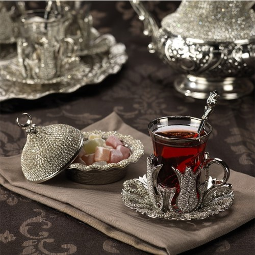 Silver Color Crystal Coated Thin Waist Tea Set For Six With Tray