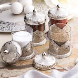 Silver Color Authentic Spice Jar Set For Four
