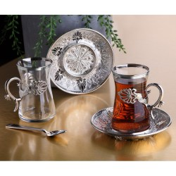 Silver Color Safa Tea Cups Set For Six Person