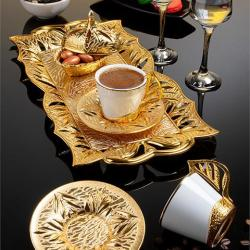 Gold Color Authentic Coffee Cup Set With Tray