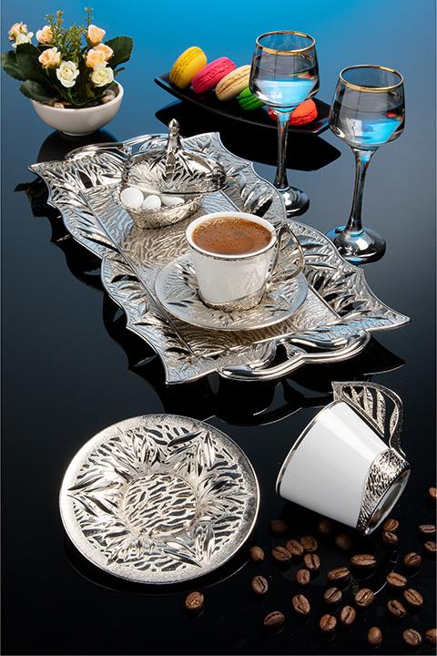 Silver Color Authentic Coffee Cup Set With Tray